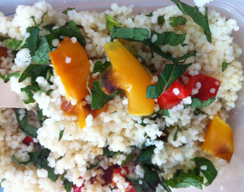 couscous with roasted peppers and spinach