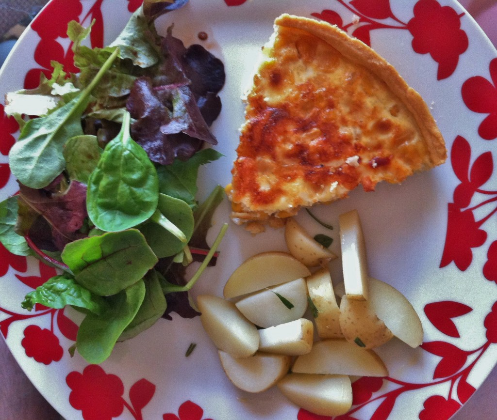 quiche, salad, potatoes