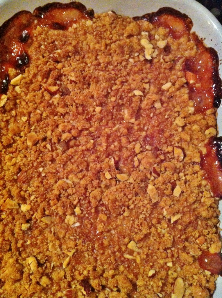 plum and almond crumble